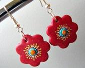 Cyber Monday sale Red flower earrings polymer clay flower eco friendly earrings dangle flowers dangling earrings summer jewelry, hoop flower