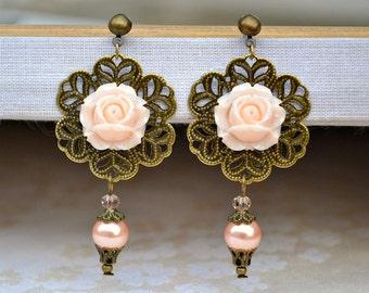 Gift for her Christmas Stocking stuffer Romantic earrings blush earrings Peach dangle earring Chandelier earrings Pink drop earring Beadwork