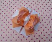 Peach & White Boutique Bow