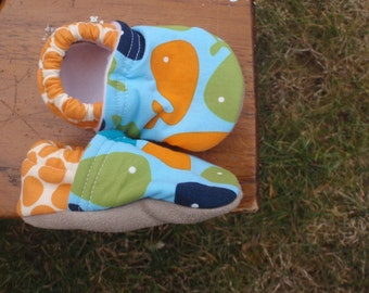 Baby Shoes with Whales - Boy - Blue and Green and Orange - Custom Sizes 0-24 months 2T-4T by littlehouseofcolors