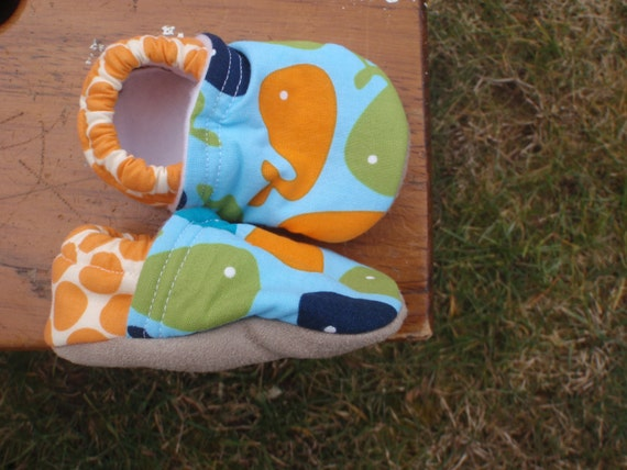 Baby Shoes with Whales - Boy - Blue and Green and Orange - Custom Sizes 0-24 months by littlehouseofcolors