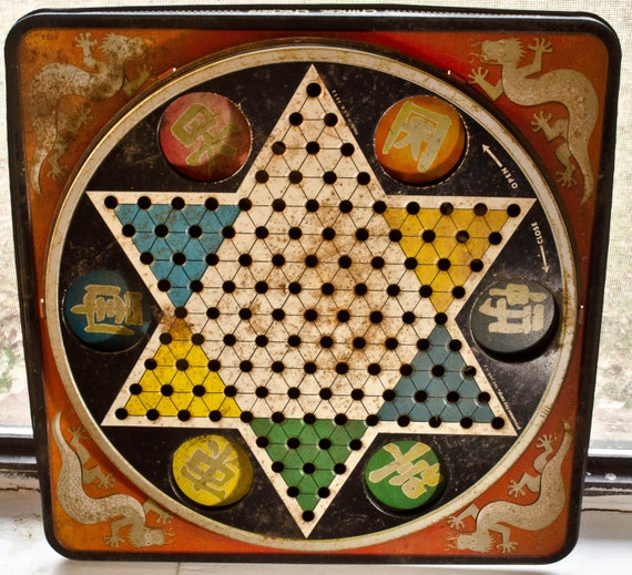 Antique chinese checkers game board only by whositsandwhatnots