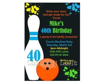 40th Birthday Party - Bowling Invite-Cosmic Invite-Casbury Lane