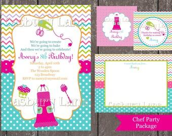 Printable Invitation-Chef Invite-Birthday-Printable-DIY-Little Birdie Notes