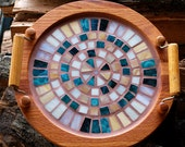 Vintage Wooden Serving Tray with Glass Mosaic