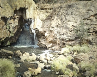 New Mexico Waterfall Photography Print 11x14 Fine Art Southwest Desert Soda Dam Wilderness Spring Landscape Photography Print.
