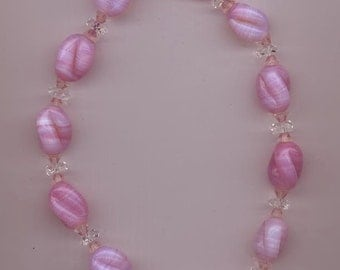 Lovely vintage lampwork glass necklace - swirled pink and opalescent beads