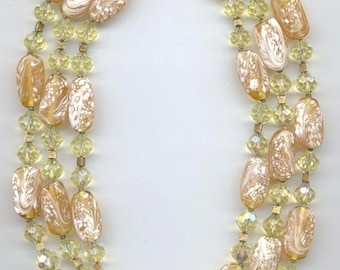 Gorgeous 3-strand vintage Trifari necklace - buttery amber colored lampwork glass beads and Swarovski crystals