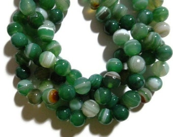 Emerald Green Striped Agate - 8mm Faceted Round Bead - Banded - Full Strand - 48 beads - Grass