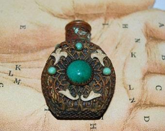 Antique Czech Enamel & Peking Glass Miniature Filigree Perfume Bottle