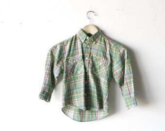 PREPPY green PLAID boys soft button up down long sleeve shirt