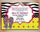 Flip Flops Pool Party Birthday Invitation, Splish Splash Pool Birthday Party Invite-Digital File You Print