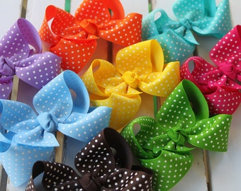 Large Boutique Bow Set -- pick 4 -- Polka Dot Bows -- choose your colors