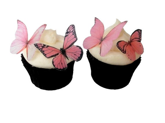 Edible Butterflies in Pink  - Alternative To Fondant Gumpaste Cupcake Toppers, Cake Decoration