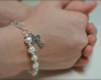 First Communion Pearl Bracelet with chalice cross charm