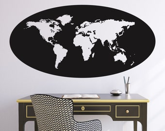 World Map Oval Outline Wall Decal