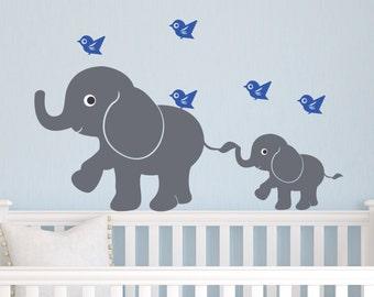 Kids Vinyl Wall Decal Children Wall Decal Elephants and Birds decal