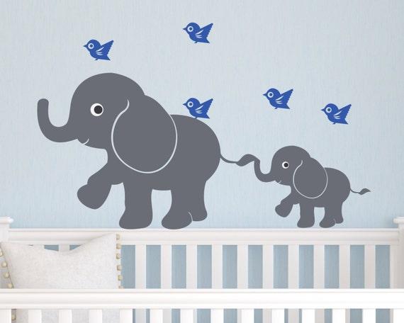 Kids Vinyl Wall Decal Children Wall Decal Elephants And Birds