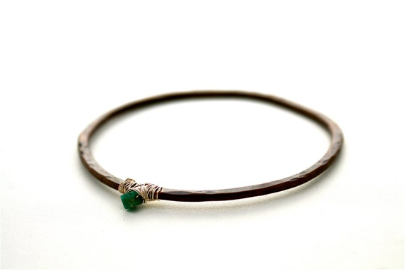 20% off for May Zion Bangle Size L/XL IN STOCK - Copper Wire Wrap Black Patina Hammered Amazonite Bracelet