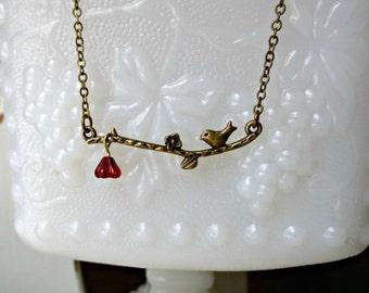 Antique bronze love bird necklace- Bird necklace- Bird on a branch necklace- Red flower necklace- Bib necklace- Small bird