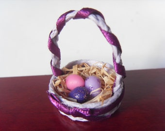 SALE - Easter basket, lilac - miniature 1:12 scale