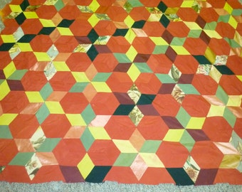 "Vintage quilt top: star  tumbling blocks 1940's  65"" x 79""  machine pieced drapery fabrics 1940's"