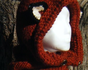 Fantasy Fox Cowl with Hood size Teen/Adult, MADE - To - ORDER, Custom colors