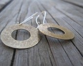 Brass Hammered Cirlce earrings
