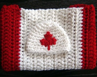 Canadian Flag Set SALE Hat and Blanket Crochet Baby Newborn Photography Prop Ready Item