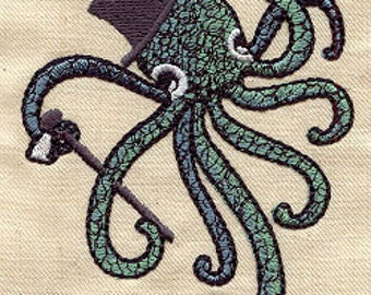 Octopus in a top hat embroidered feeding bib.