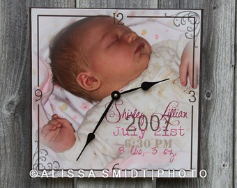 Custom Clock Created with Baby's Photograph and Birth Stats - Desk or Wall Clock - Christmas Special!