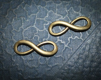 SALE - 24 Infinity symbol Charm Bronze Unique Charm - Tim Holtz style Altered Art infinity - 85% OFF makes great connector for bracelets
