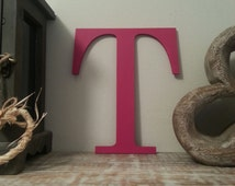 Decorative Wooden Wall Letter 'T' - Any Colour - Plain Finish - Roman Style - 8""