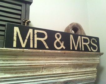 Large Handmade Wooden Sign Sign - MR & MRS - Distressed, rustic, vintage, approx 45cm