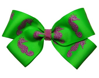 Large Pink and Green Seahorse Hair Bow
