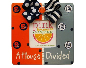 A Basketball House Divided Handpainted Picture Frame Custom Any 2 Teams
