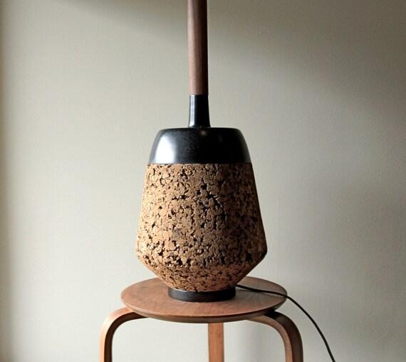 Mid Century - Cork and Black Ceramic Table Lamp