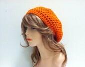 Crochet Beret Hat - CARROT