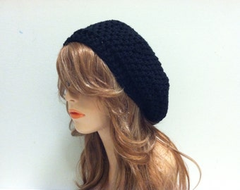 Crochet Beret Hat - BLACK