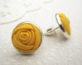 Solar Power Yellow Earrings - Yellow Bridesmaid Earrings - Fabric Flower Yellow Roses