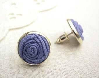 Purple Bridesmaid Earrings - Fabric Flower Thistle Purple Rose Stud Earrings