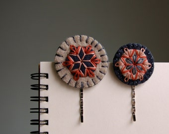 Wool Felt Bobby Pins ø Hand Embroidered ø Slate ø LoftFullOfGoodies