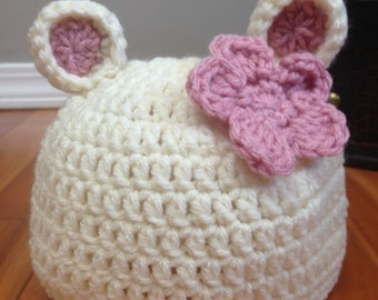 Crochet Baby Bear Beanie with Flower (NB, 3-6, & 6-12 months) - Hat, knit, boy, girl, newborn, photo prop, flower