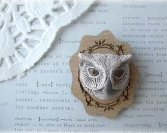 Ceramic Owl with Wooden Frame Brooch