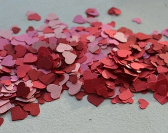 Red Hearts Adorable Heart Confetti in Red/Pink over 1000 hearts Pink Hearts Red and Pink Heart Confetti