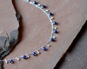 Blue Sapphire Necklace, Freshwater Pearls, Delicate 14k Silver Chain