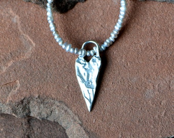Seed Pearl Necklace, Silver Heart Pendant
