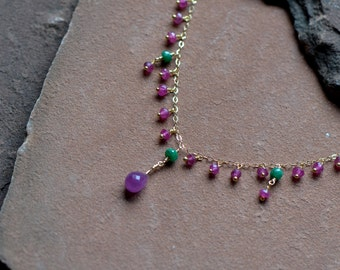 Pink Sapphire Necklace, Dangling Emeralds and Rubies, Delicate Gold Chain