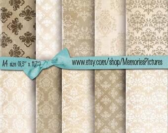 INSTANT DOWNLOAD. Printable beige ,  Damask , background papres // 10 scrapbook ,commercial use,  Digital Collage Sheets  Download Tp60