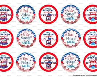 "15 4th of July Owl American Cutie 1 Images Digital Download for 1"" Bottle Caps (4x6)"